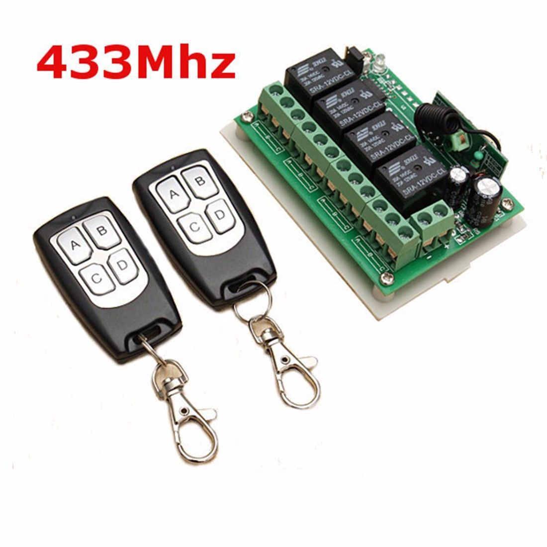 Universal 12v 4ch Channel 433mhz Wireless Remote Control Switch Transmitter Circuit Integrated With 2 Diy Replace Parts Tool Kit