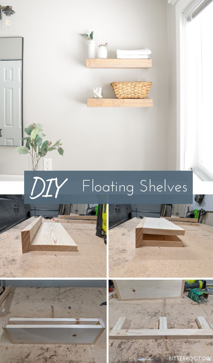 DIY Floating Shelves | build these quick and easy floating shelves with this tutorial from Bitterroot DIY.     #woodworking #diy #beginnerwoodworking #floatingshelves #diyhomedecor #bathroom #bathroomideas