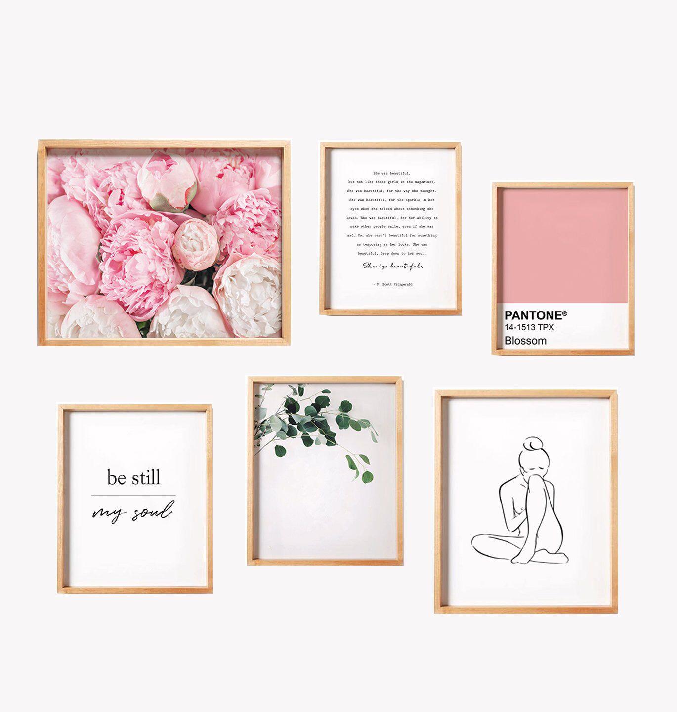Spring Wall Art Blush Pink Decor Gallery Wall Set Set Of 6 Etsy Blush Pink Decor Pink Decor Gallery Wall