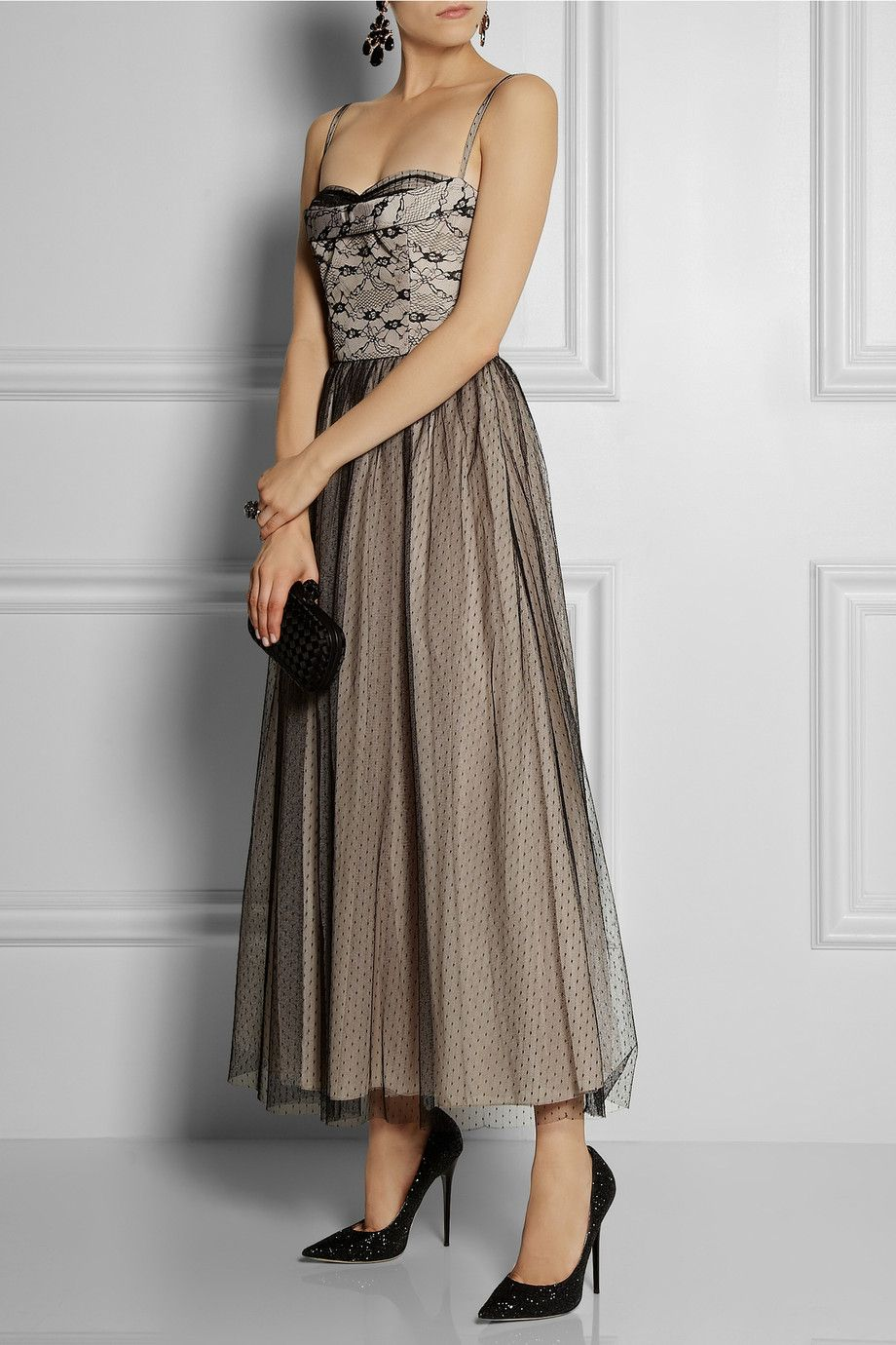 RED Valentino | Lace and tulle-overlay taffeta gown | NET-A-PORTER ...