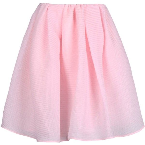 Carven Knee Length Skirt (£120) ❤ liked on Polyvore featuring skirts, bottoms, pink, saia, knee length skirts, pink pleated skirt, carven skirt, pleated skirt i pink knee length skirt