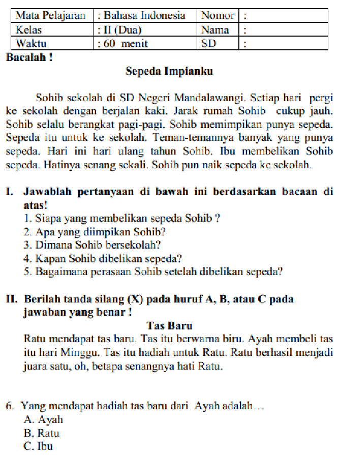 Contoh Soal Uts Bahasa Indonesia Kelas 5 Sd Semester 1