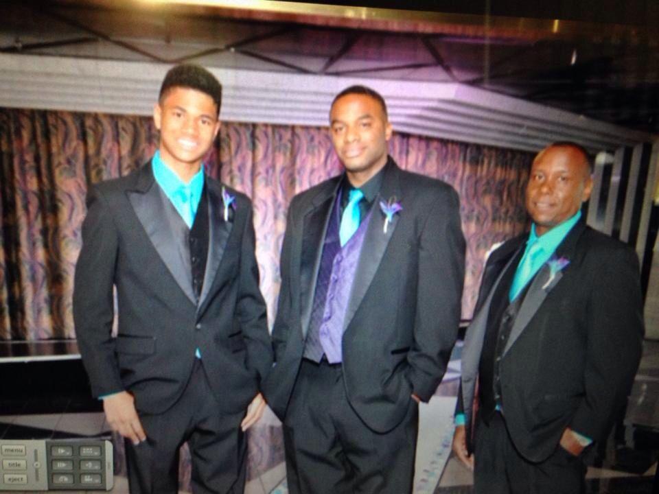 My groomsmen and me black tux purple vest turquoise tie ...