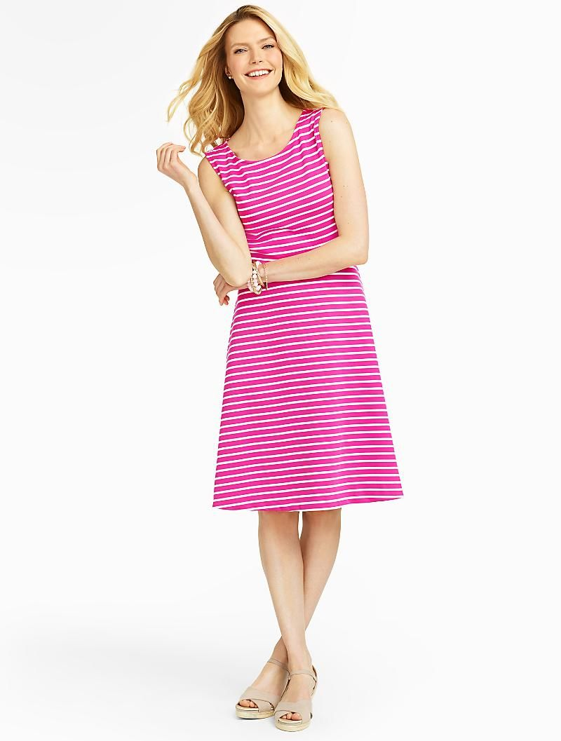 Talbots Edie Stripe Full Dress Dresses Clothes Clothes For Women [ 1057 x 800 Pixel ]