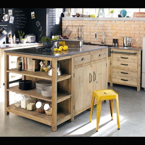 une belle cuisine en bois et un plan de travail en veritable pierre bleue naturelle les meubles sont deja montes avec le plan de travail les poignees etc