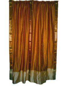 2 Window Treatment India Curtains Golden Brown Silk Sari Drapes Curtain 84  Inch: Home U0026