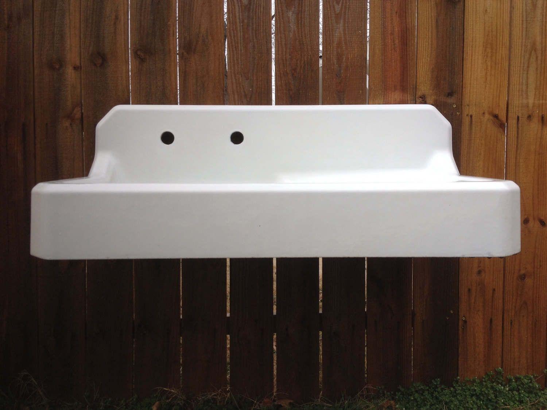 Antique Richmond Farm Sink Drainboard Highback Apron with new ...