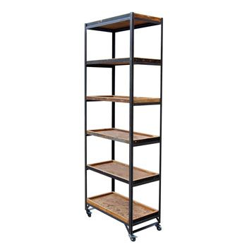 6 tier retail display unit with wooden trays retail. Black Bedroom Furniture Sets. Home Design Ideas