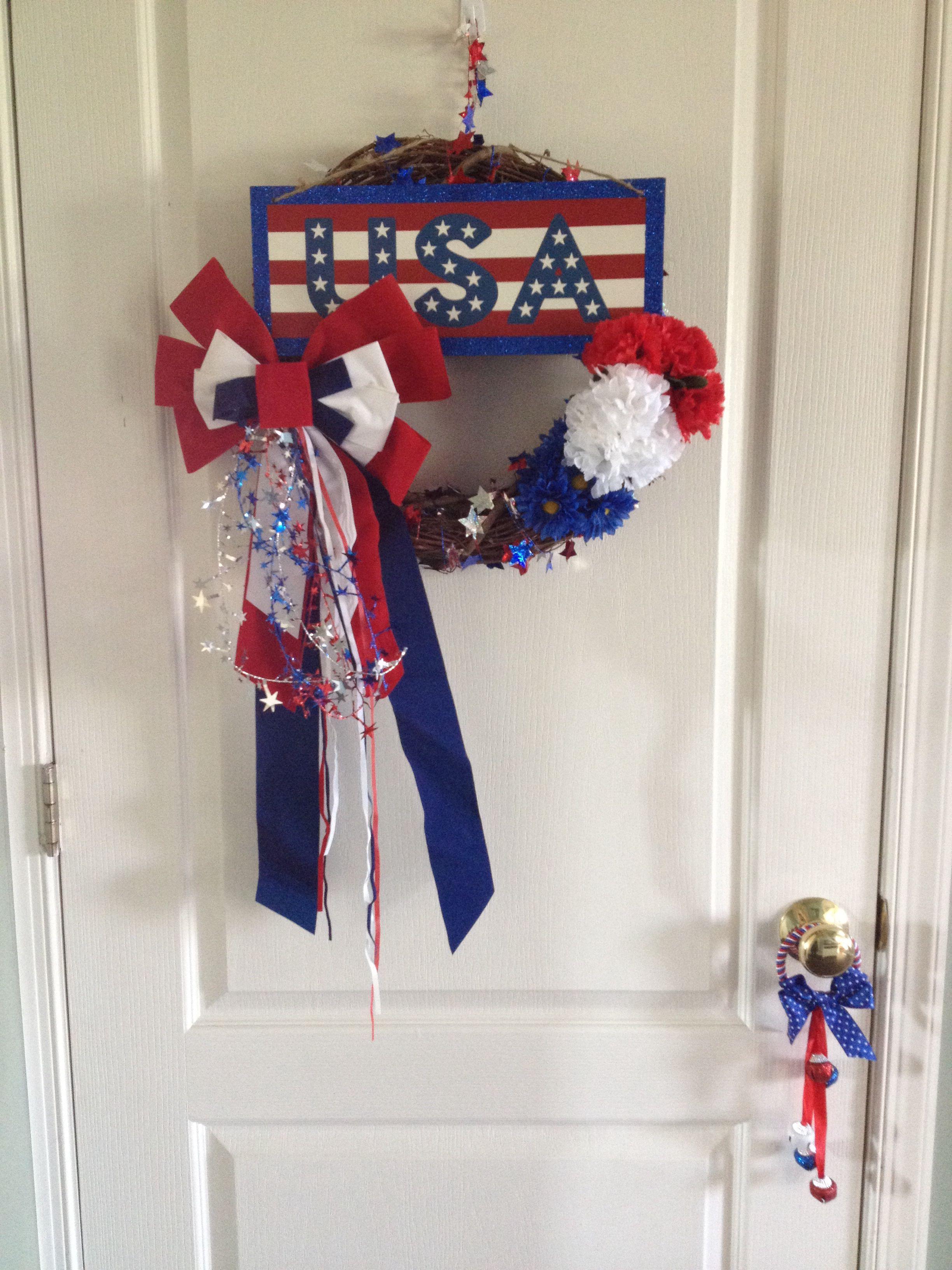 Dollar Tree Wreath. Fourth of July. | Dollar tree ideas ...