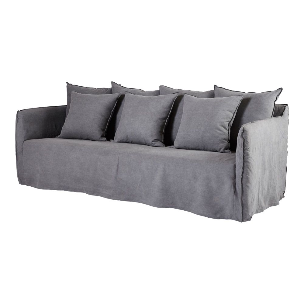 This Ash Grey Hamptons Style Bronte Slip Cover Sofa Is Made From
