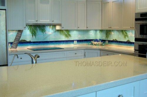 Tropical Tile Backsplash Looks Like A Palm Tree Mural
