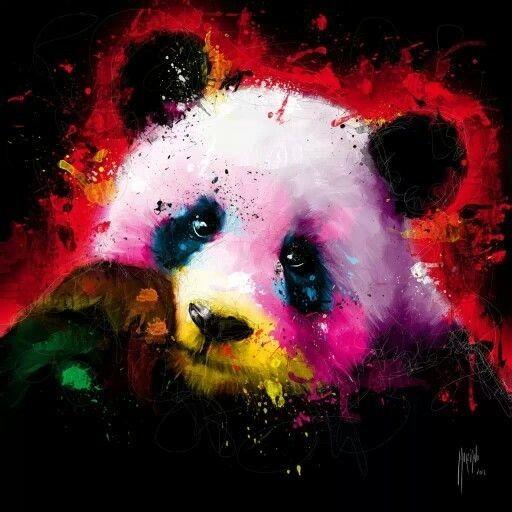 Montly watercolor panda portrait in splashes tattoo design