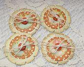 Handmade Flower Embellishments - Set of 4