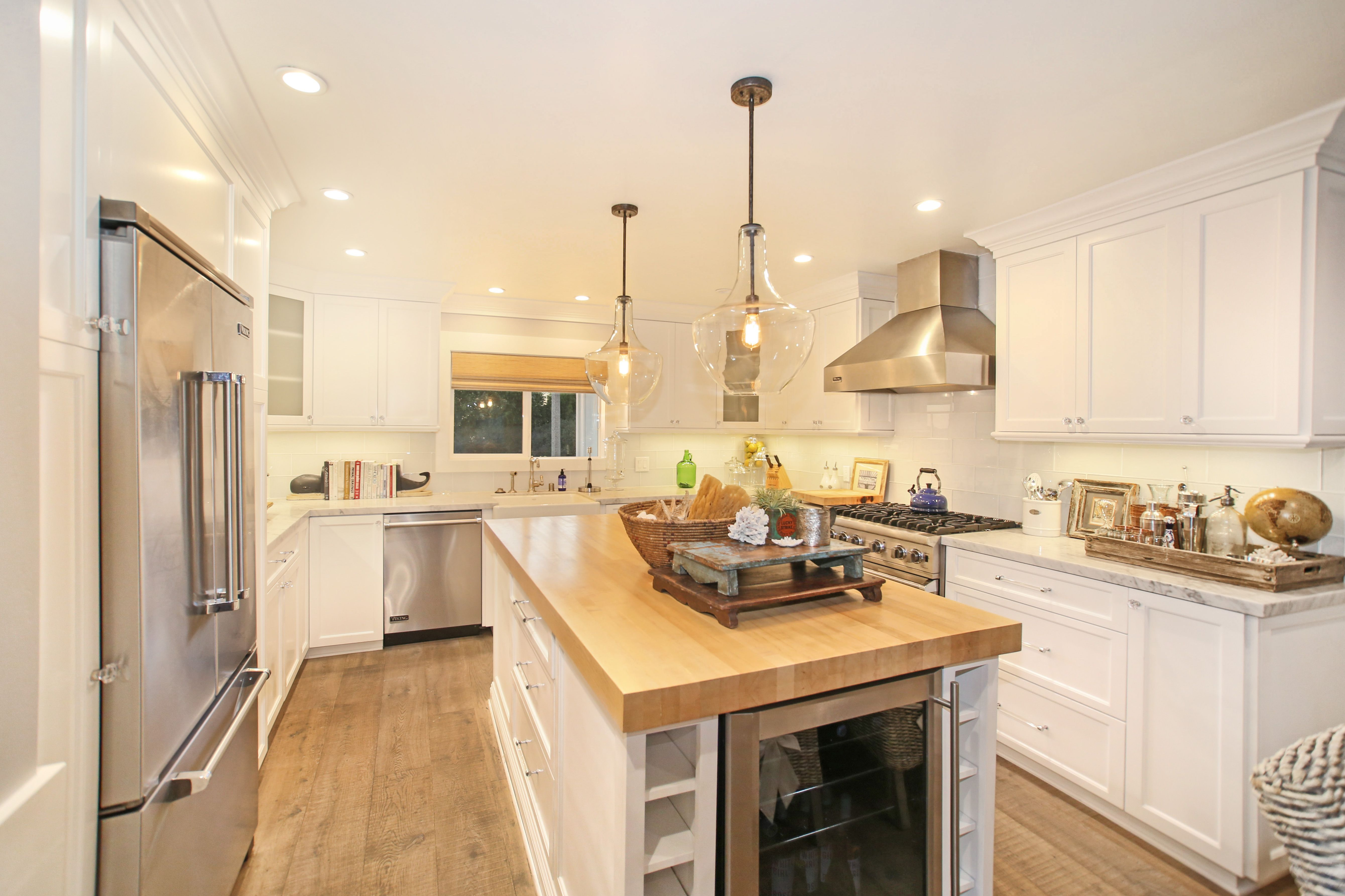 White Marble Countertops, Farm Sink And Butcher Block Island With Wine  Unit. Perfect Mix