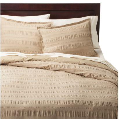 modern master bedroom with threshold seersucker duvet cover set | khaki seersucker | bedroom | Duvet cover sets, Duvet ...