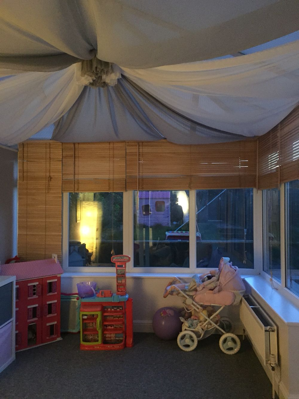 Close Up Of Playroom I Have Created For My Daughter In My Conservatory Ceiling Drapes Fabric Swag Have Help Outdoor Canopy Lights House Canopy Backyard Canopy