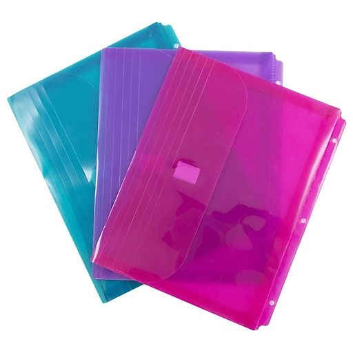 JAM Paper Plastic Binder Pockets, 3 Hole Punched, Assorted