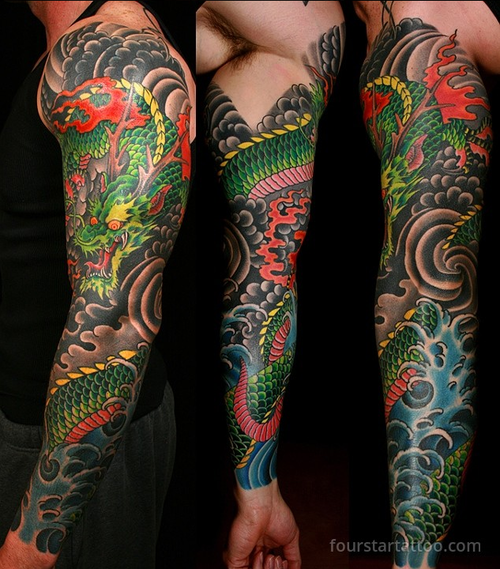 83 Awesome Y G Tattoos Cool Tattoo Designs: Dragon Sleeve Tattoo By Mark