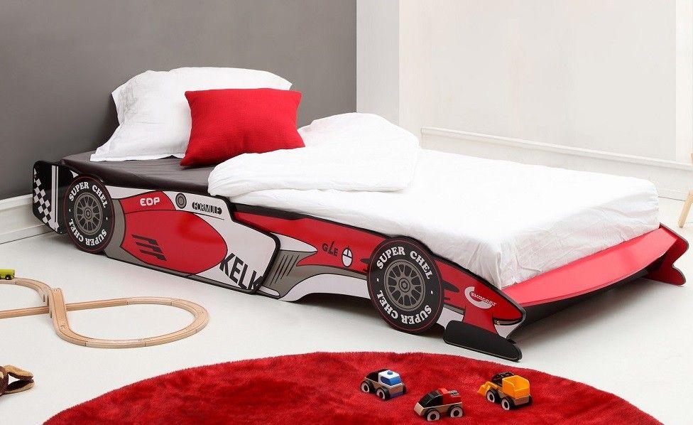 lit enfant voiture de course rouge
