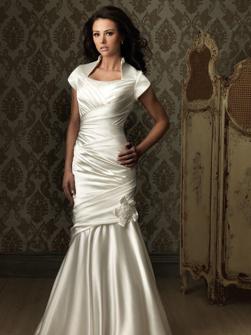 Trumpet mermaid cap sleeve silk satin ruched modest for Trumpet mermaid wedding dress with sleeves