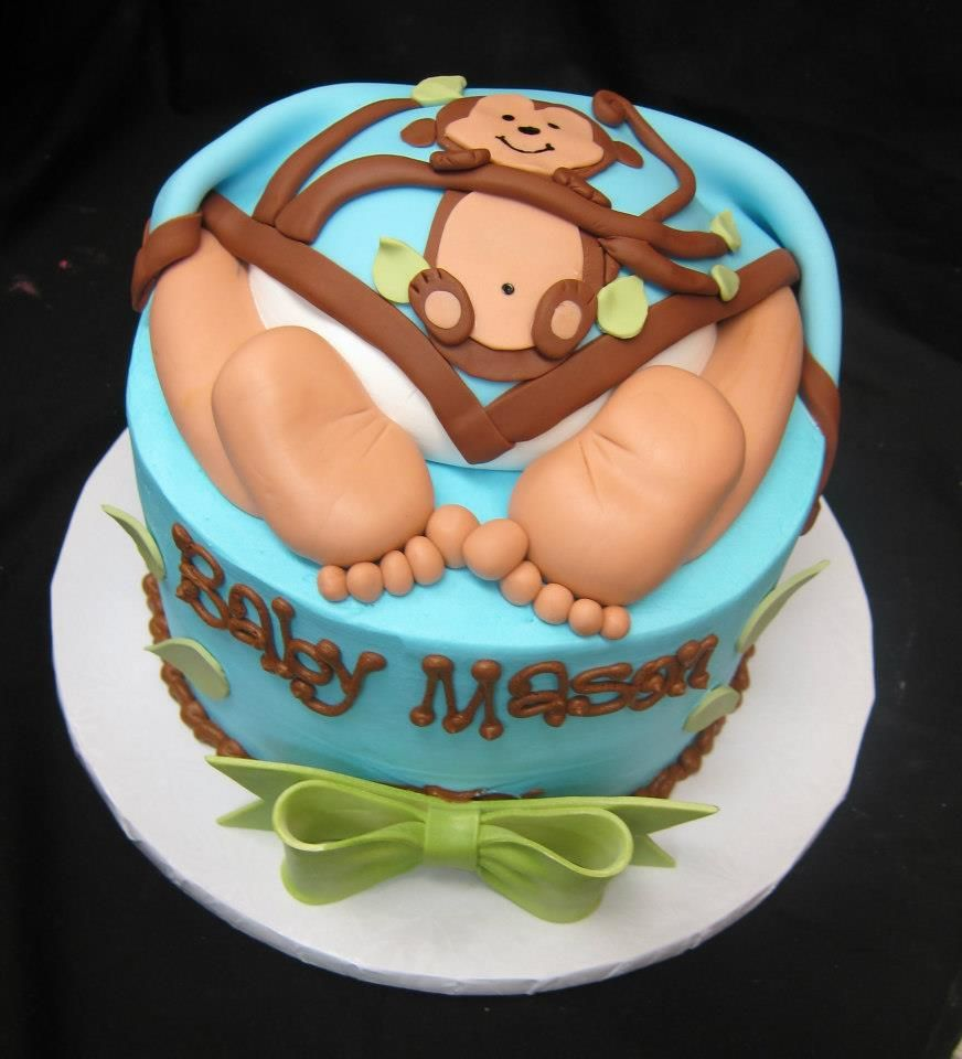 Baby Shower Baby Bottom Cake with Monkey Blanket by Stephanie Dillon