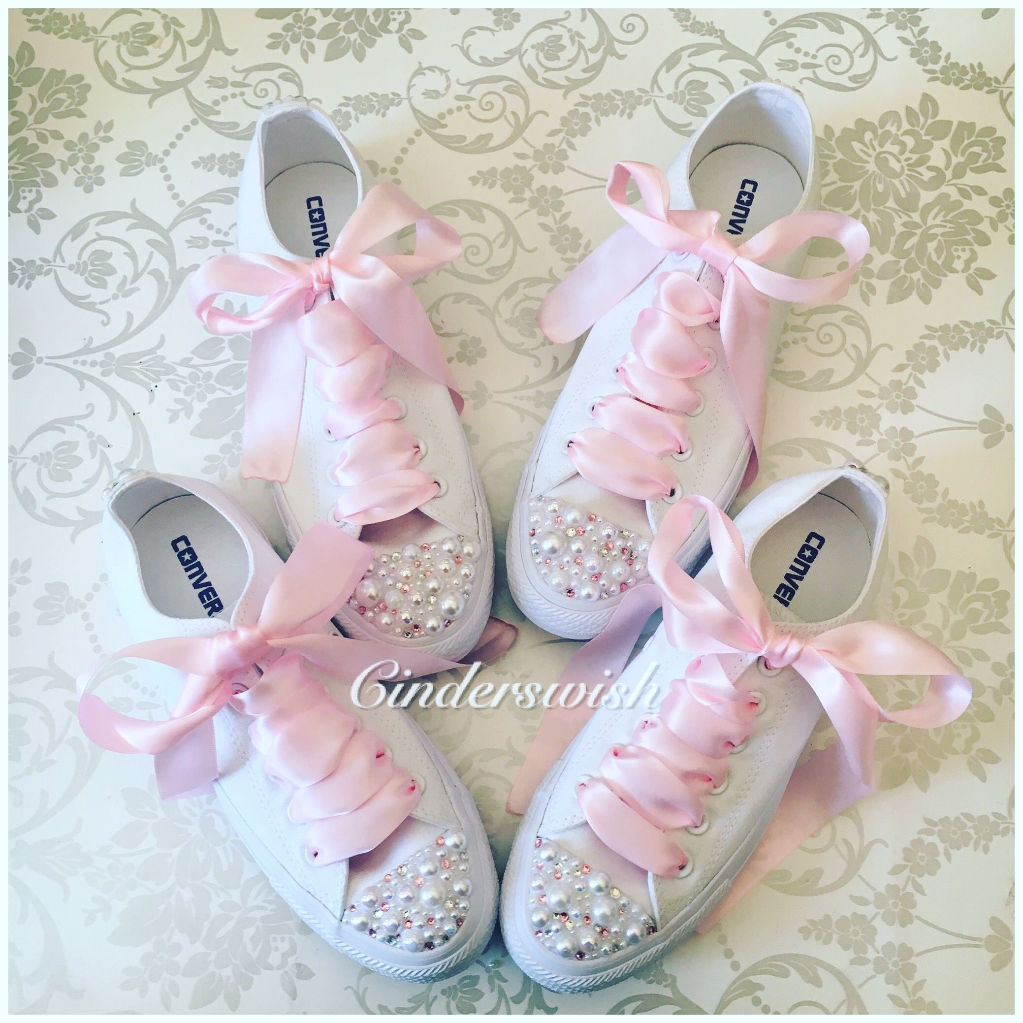b70026dfb0f7 Matching Bridesmaids Customised Converse for a Show Stopping Wedding party!   bridesmaids  wedding  matching  weddingconverse  blingconverse  pink   white ...