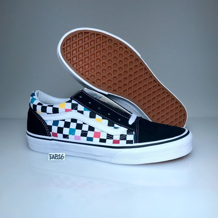 a4c02e90ad Vans Old Skool Checker board Party Multi Color Rainbow Black White Pink  Blue Red board Party Multi