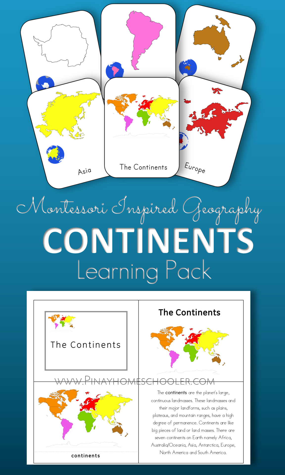 Montessori Continents Learning Pack and Activity Sheets | Montessori ...