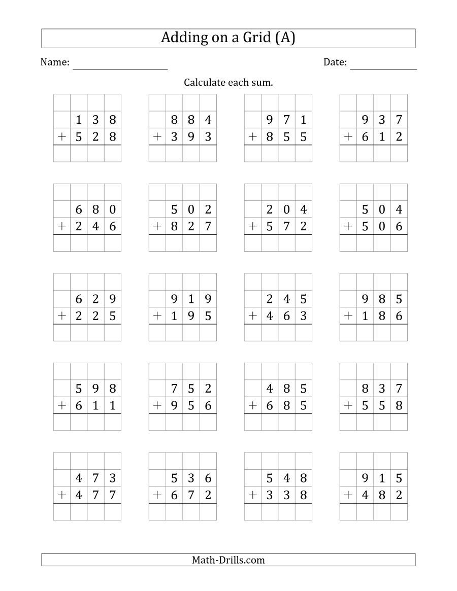 The Adding 3Digit Plus 3Digit Numbers on a Grid (A) Math