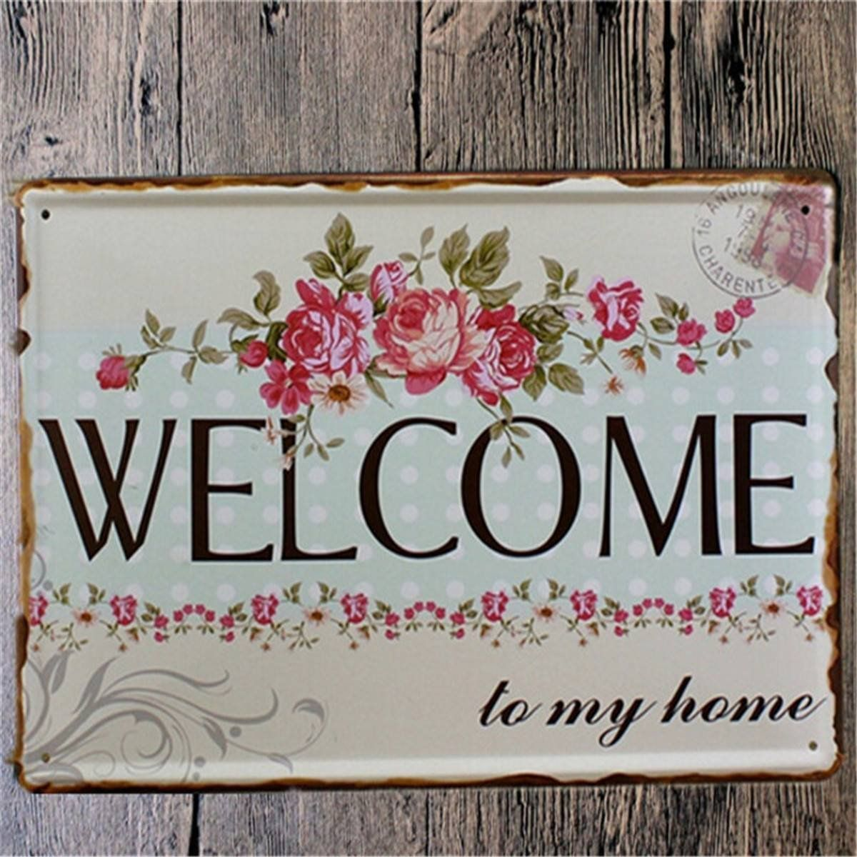 Vintage Shabby Chic Home Decor: Welcome Home Metal Shabby Chic Vintage Sign Home Wall