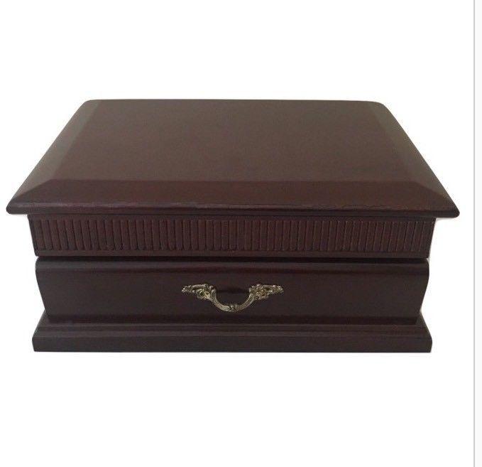 1fbf335c1 Vintage The Commodore Rosalco Cherry Wood Organizer Jewelry Box | eBay