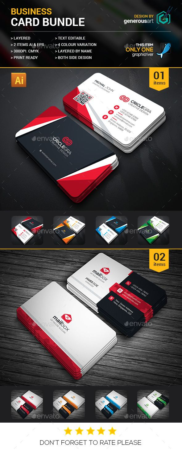 Business Card Bundle 2 in 1   Ai illustrator, Card templates and ...