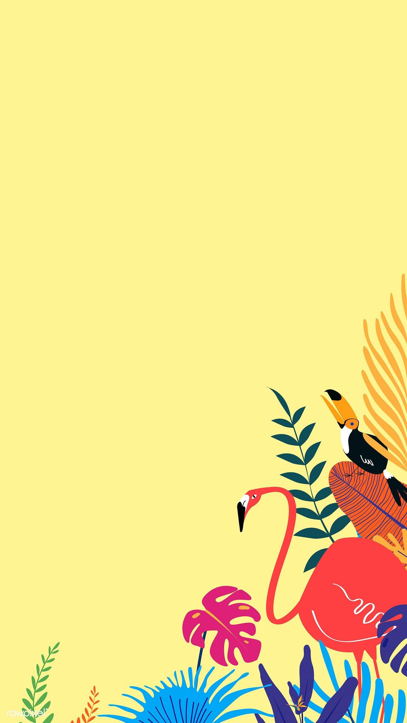 Blank Tropical Yellow Background Vector Free Image By Rawpixel Com Peera Poster Bunga Ilustrasi Foto Abstrak