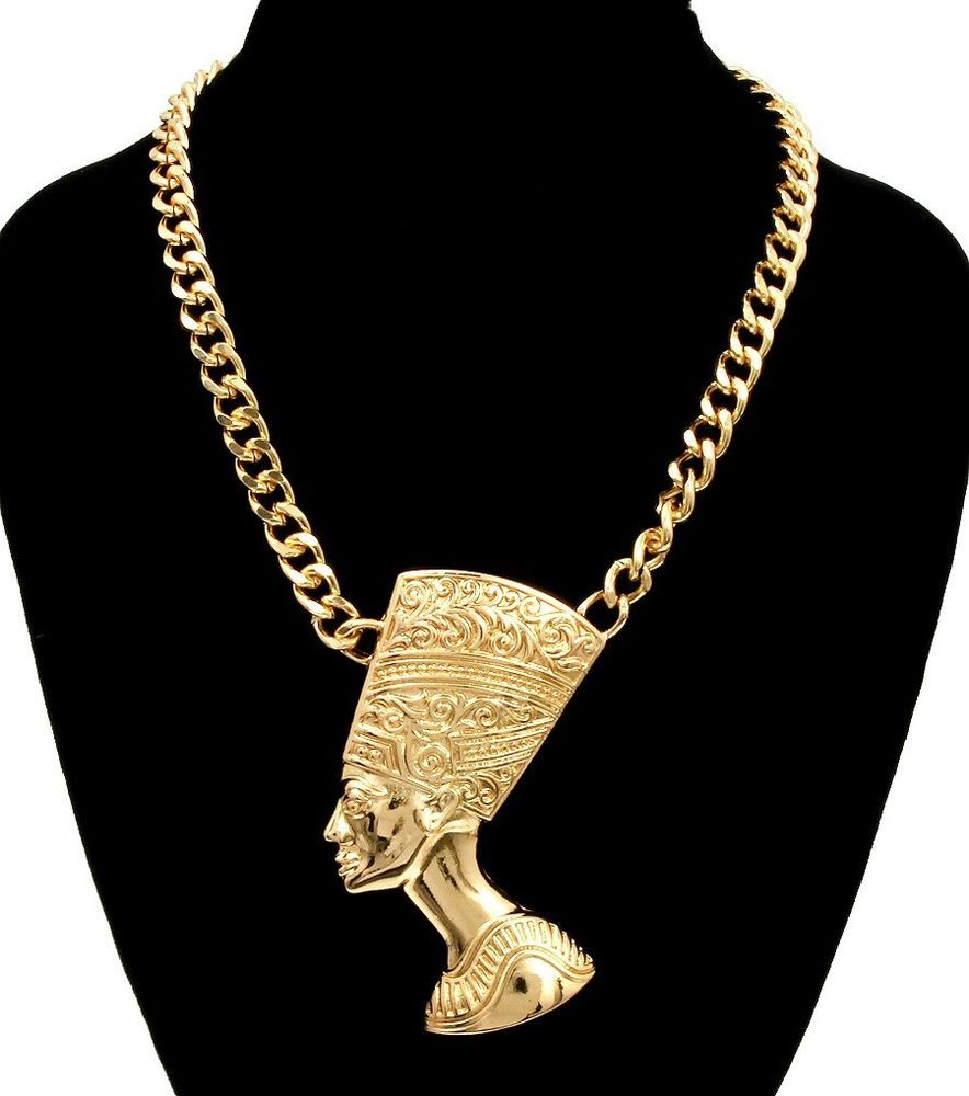 Gold nefertiti pendant statement link necklace egyptian queen gold nefertiti pendant statement link necklace egyptian queen urban fashion jewelry chain mozeypictures Choice Image