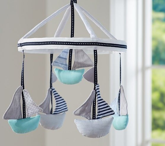 Sailboat Crib Mobile With Images Nautical Baby Nursery