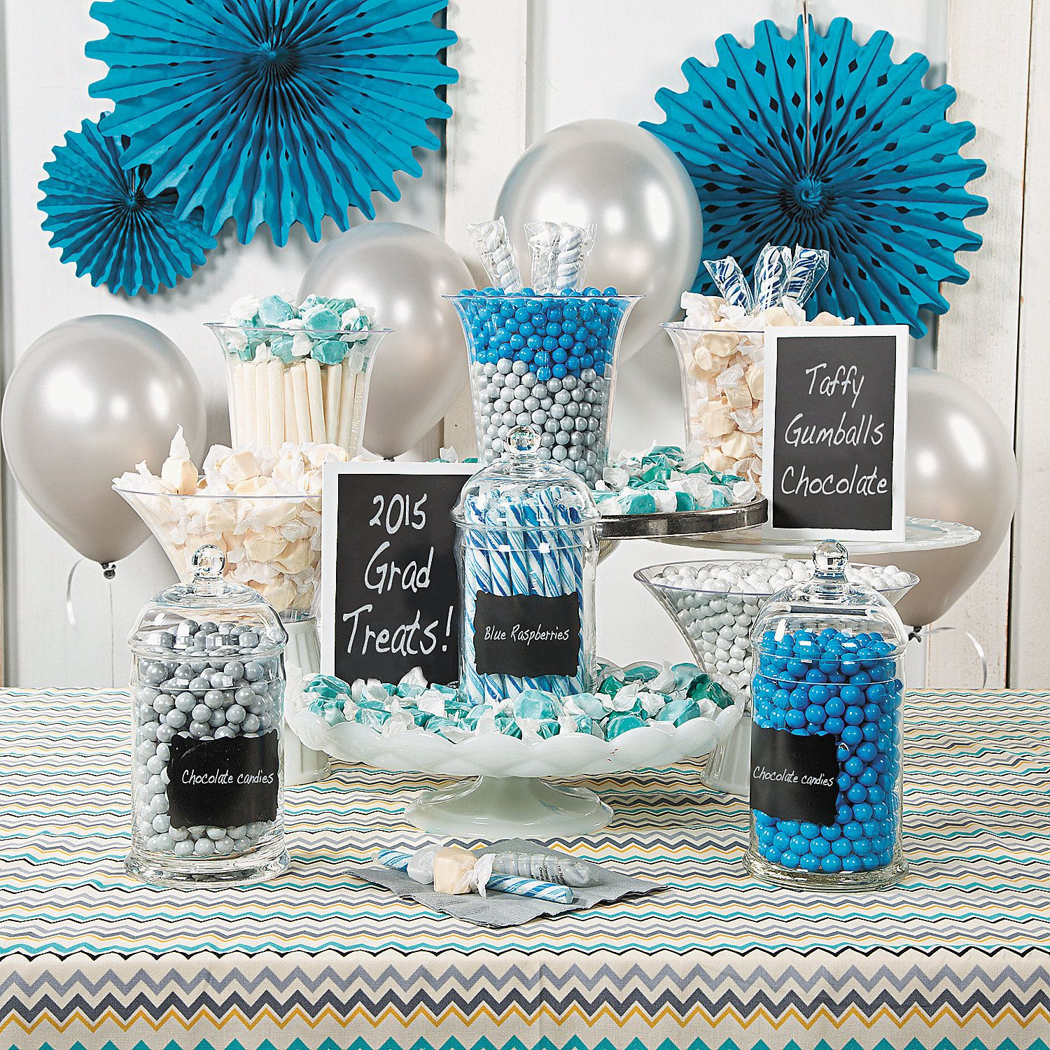 Blue White Graduation Candy Buffet Idea Show Some School Spirit With This Sweet Way To Celebr Graduation Candy Buffet Graduation Candy Graduation Candy Bar