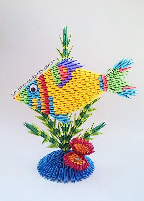 3d Origami Fish Paper Seashell