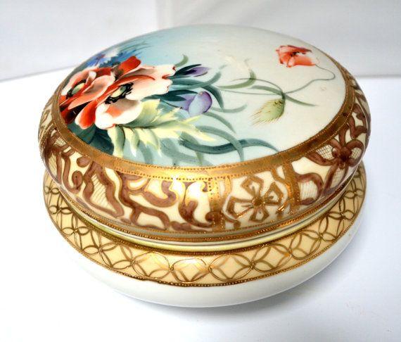jewelry box, trinket box Hand painted Nippon Dresser Box; nippon