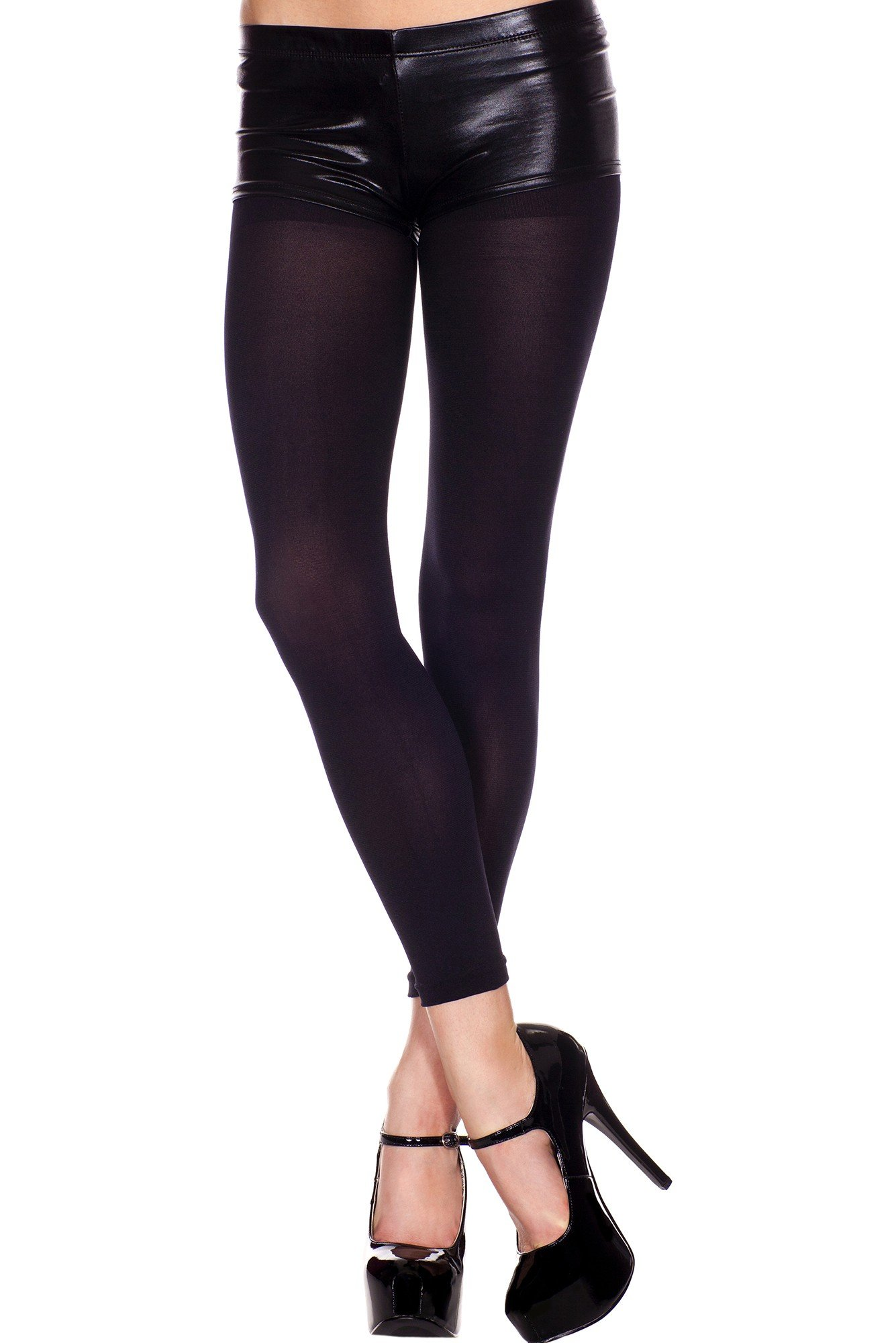 Solid Opaque Black Footless Tights Dance Wear Toe-less Hosiery ML 35797
