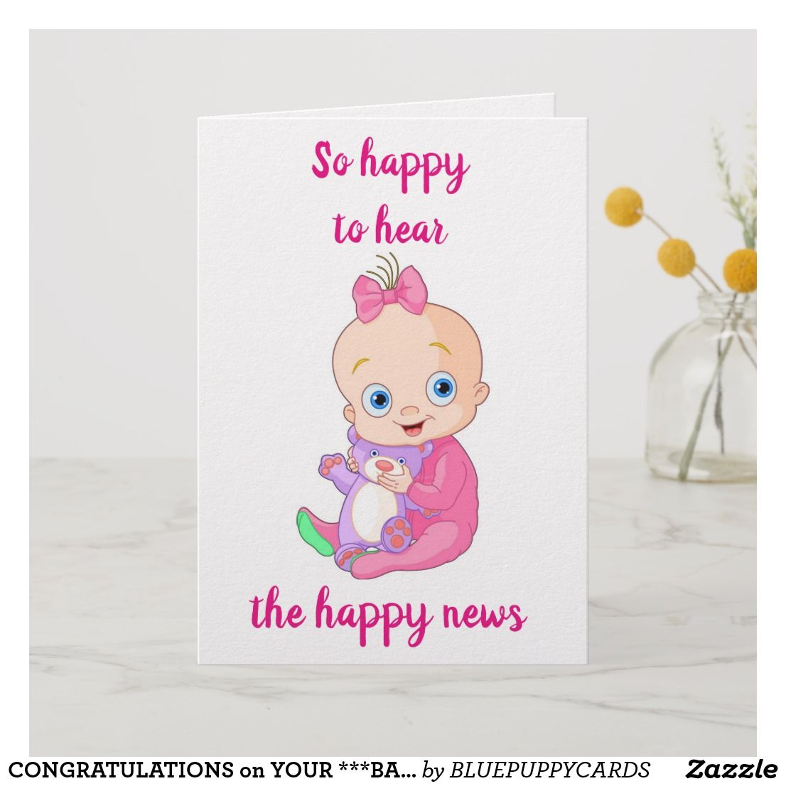 Congratulations On Your Baby Girl Card Zazzle Com Congratulations Baby Girl Baby Girl Cards Congratulations Baby