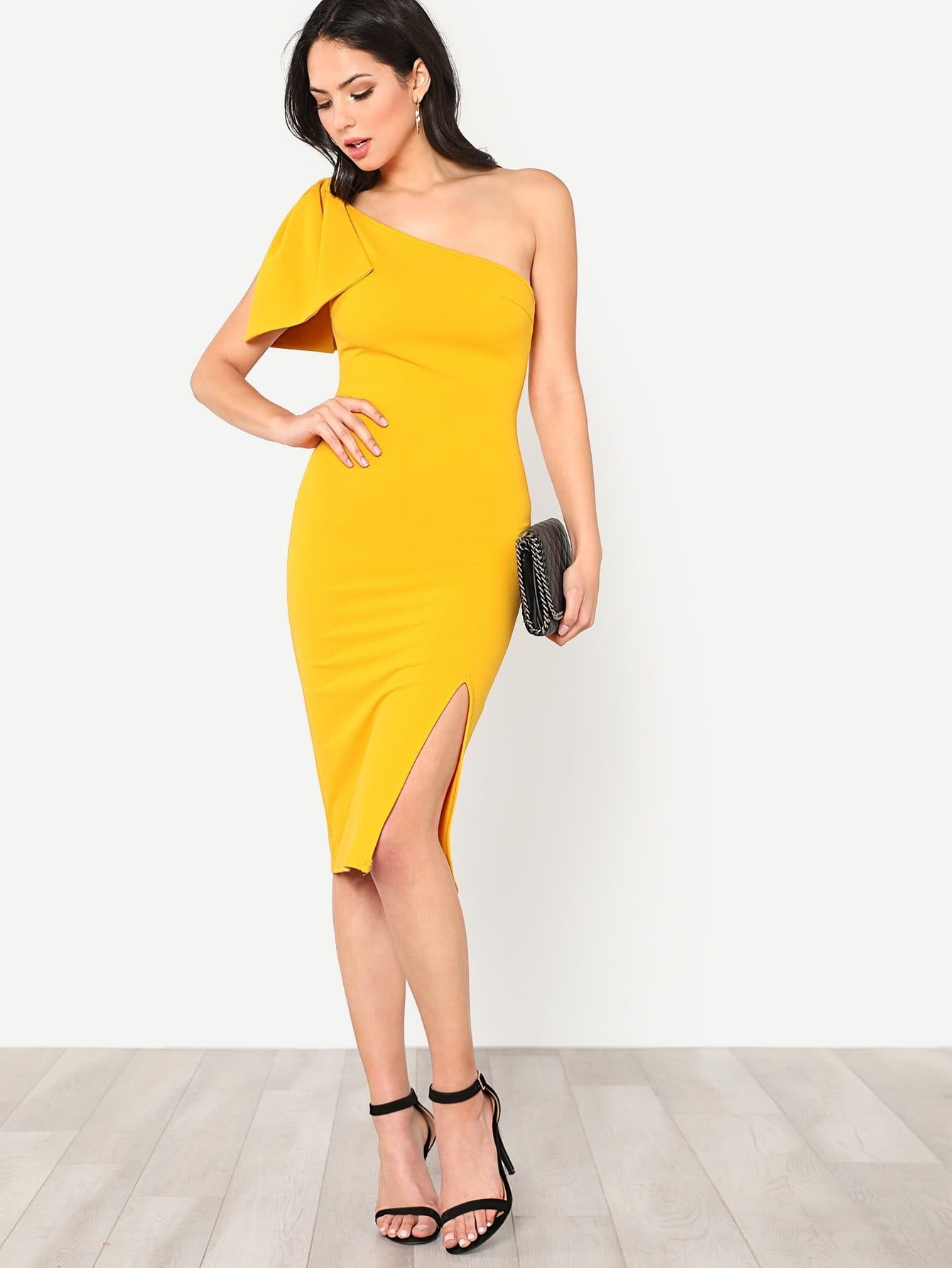 fa358ba70b5 Party Pencil Zipper and Bow and Split Plain Sheath Slit One Shoulder  Sleeveless Natural Yellow Knee Length Exaggerate Bow Detail One Shoulder  Dress