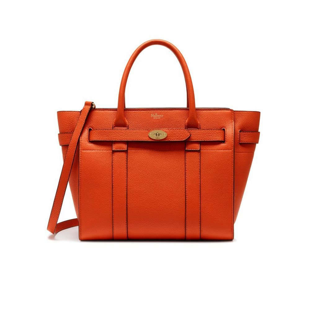 69644bc325 Shop the Small Zipped Bayswater in Bright Orange Leather at Mulberry.com.  The Bayswater