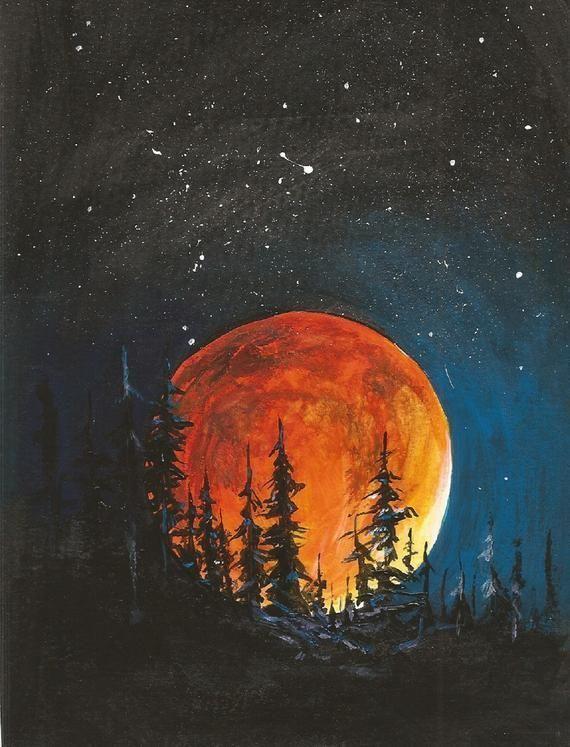 Artikelen vergelijkbaar met Harvest Night Light - Original Art - Acrylic Moon, Night, Landsca...