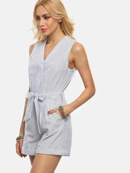 04d53f62ee7 Preppy Blue and White Striped Romper Jumpsuit with Tie and Pockets ...