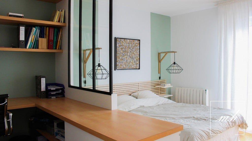 une chambre avec bureau et dressing int gr suresnes 92 par eva ivos notre architecte d. Black Bedroom Furniture Sets. Home Design Ideas