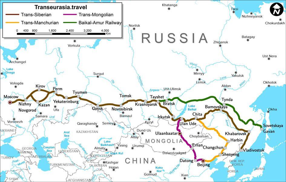 Trajet du Transsibérien – carte et infos sur les trains ...