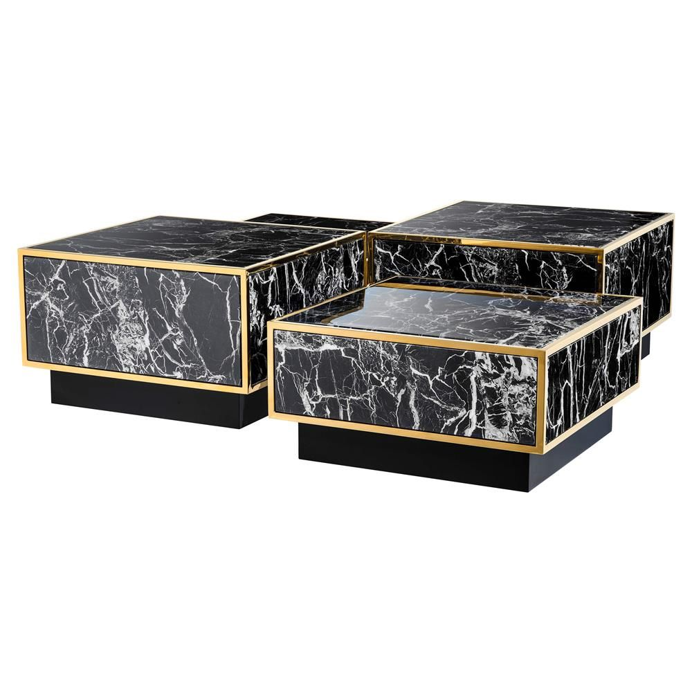 Eichholtz Concordia Hollywood Regency Black Faux Marble Square Coffee Table Coffee Table Square Cube Coffee Table Black Square Coffee Table