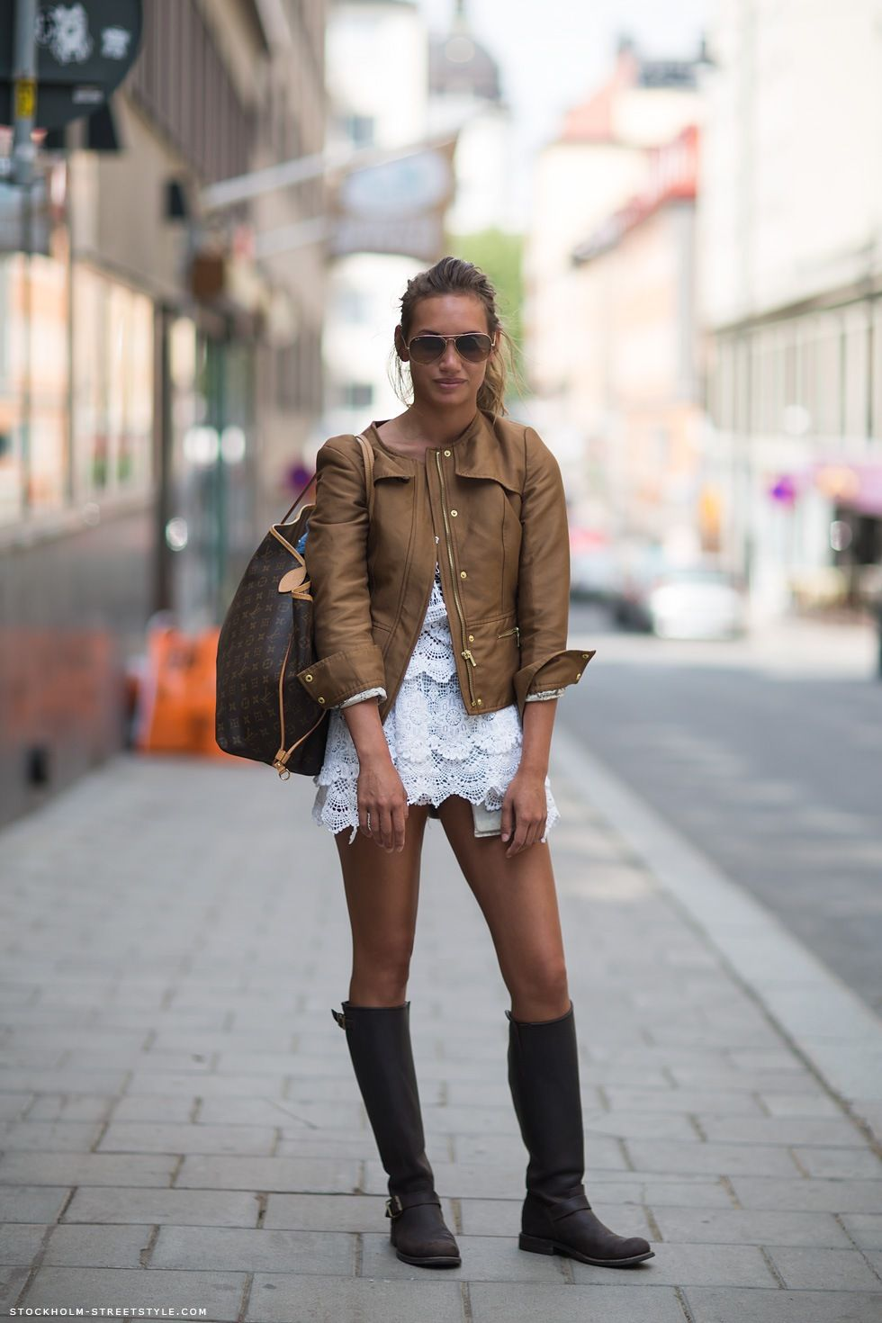 White dress boots - Sara In The Lace White Dress Camel Jacket And Brown High Boots And A Lv