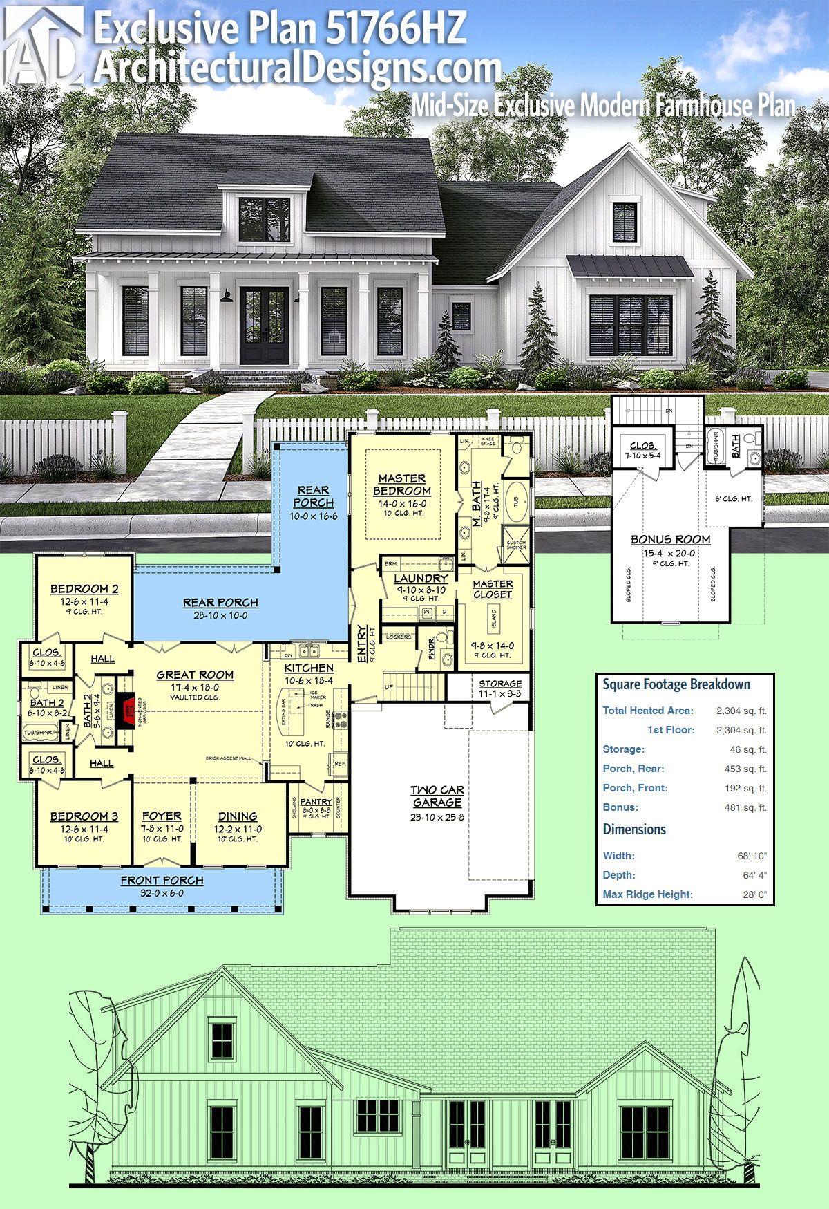 Plan 51766hz Mid Size Exclusive Modern Farmhouse Plan In