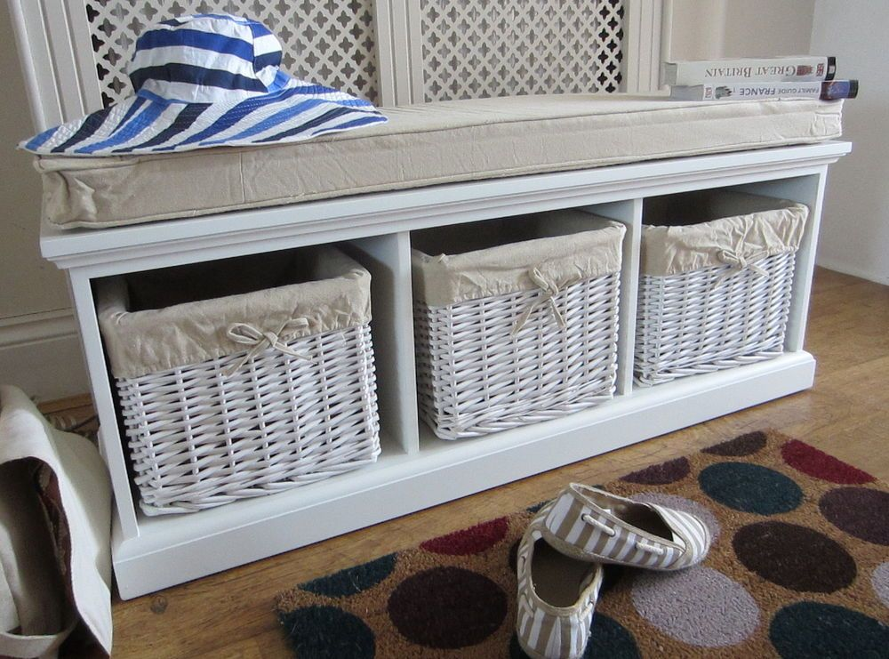 Solid Wood White Tetbury Bench Hallway Shoe Storage Seat Rattan Baskets New New Home